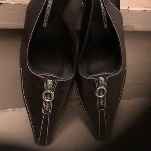 Brown leather Donald J Pliner sling back heels
